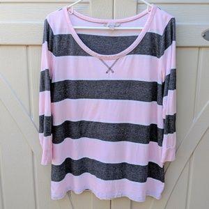 BANANA REPUBLIC Pink Grey sleeve Cute Top Size L